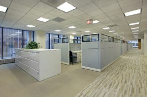 Office area with File cabinets and cubicles. All areas are carpeted.