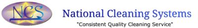 "National Cleaning Systems header including the logo and the phrase, ""consistent quality cleaning service""."